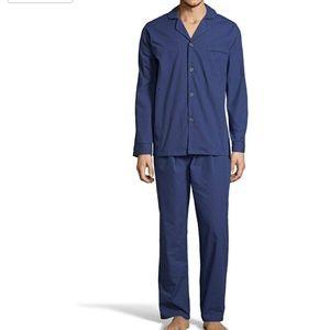 Hanes 2XL Navy Woven Long Sleeve/Pants Pajamas